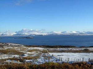looking down the croft, across the loch to Trotternish ridge
