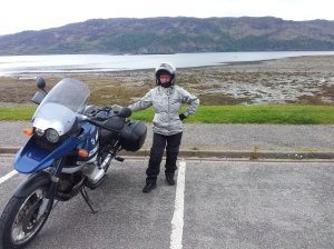 Biker chick. Me well out of the comfort zone  - riding pillion on the husband's bike a couple of years ago.