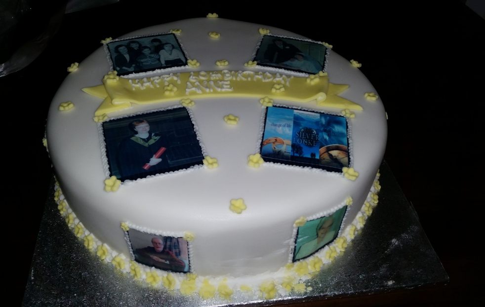 My lovely 60th birthday cake complete with photos from significant life stages, my book covers, my parents and round the other side my children and grandchildren. Thanks to Mr Anne and to cakemaker, Nicola.